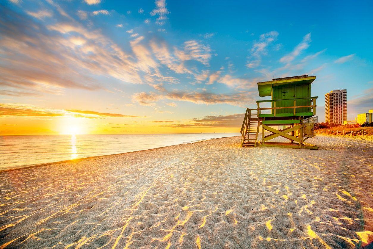 South Beach, Miami bij zonsondergang