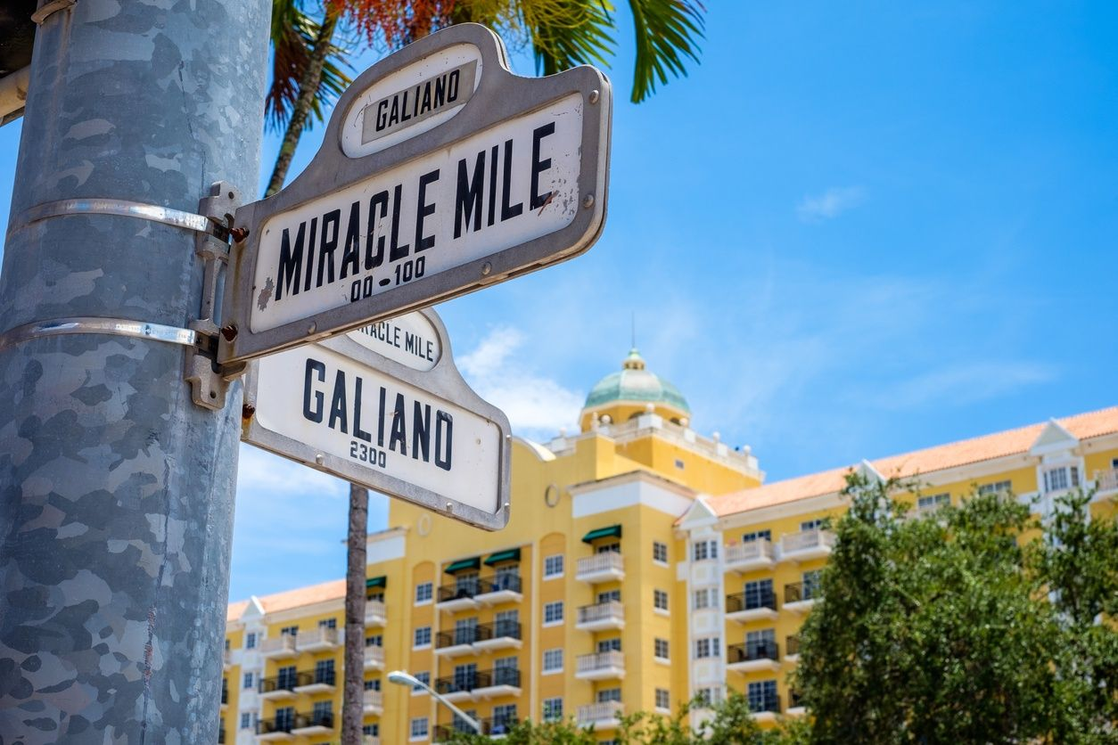 Miracle Mile street sign in Coral Gables, Miami